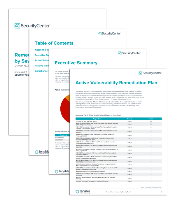 Securitycenter report templates tenable network security for Security remediation plan template