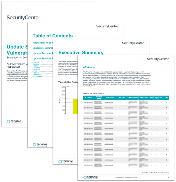 Update Services Vulnerability Summary Report