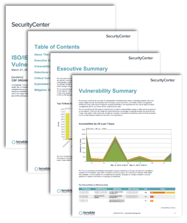 ISO/IEC27000: Vulnerability Management Report Screenshot