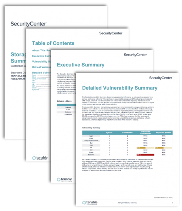 Storage and Backup Summary Screenshot Report