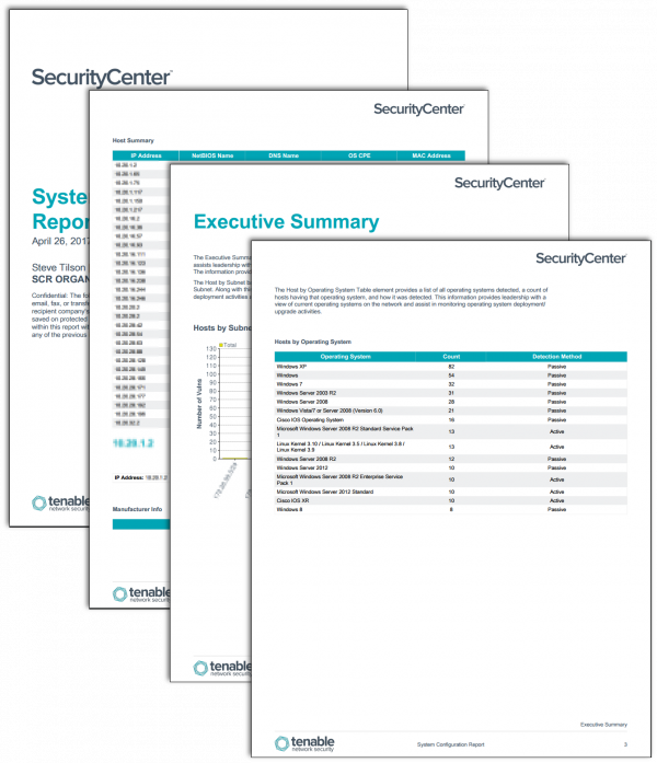 System Configuration Report Screenshot